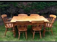Solid pine table and 6 chairs £160 o.n.o