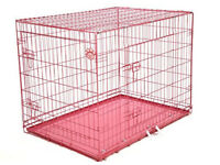 42 inch pink dog cage - new item. crate. kennel. whelping.