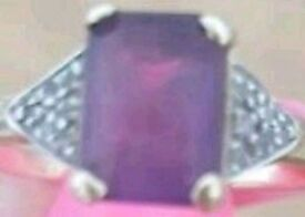 9ct gold ameethyst and diamond