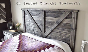 Farmhouse Headboard, Footboard and Matching Night Stand