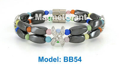 Multi Color Cat eye - Double high power magnetic black hematite beaded bracelet Cat Eye Hematite Bracelet