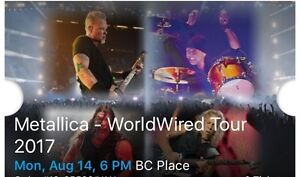 2 Tickets, Metallica Aug 14th in Vancouver - BELOW FACE VALUE