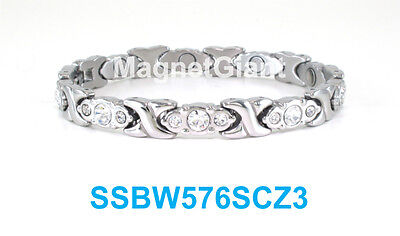 Silver Hugs & Kisses Clear Crystals Women magnetic stainless steel link bracelet ()