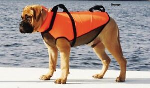 Salus dog PFDs instock in all sizes in red and mango