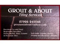 Grout and About Tiling Services. Competitive rates. Credit cards accepted. Regrouting specialist.