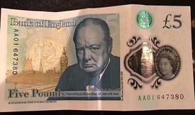 RARE AA01 CODE NEW £5 NOTE
