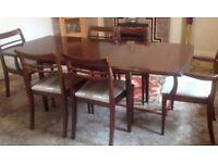 Dark Wood Extending Dining Room Table & Six Chairs two Carvers, Good Condition