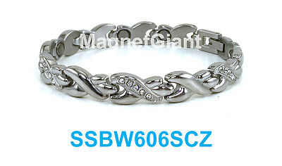 Silver Hugs & Kisses with X CZ - Women magnetic stainless steel link bracelet ()