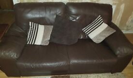 3 and 2 seater leather settee