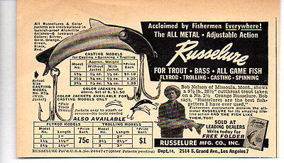 1950 Vintage Ad Russelure Fishing Lures All Game Fish Los Angeles,CA