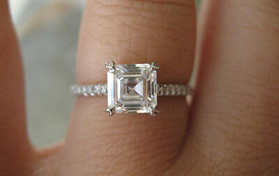 2.50 Ct. Natural Asscher Cut Pave Diamond Engagement Ring - GIA Certified