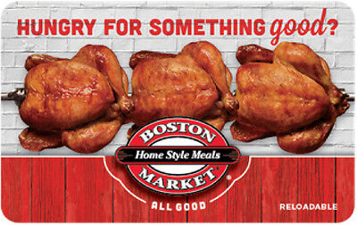 $50 Boston Market Gift Card For Only $42.50!! - FREE Mail Delivery