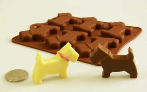 6 cell Scottie Dog Westie Silicone Bakeware Chocolate Treat Mould Wax Crayon Pet