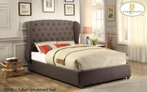 Modern deep gray fabric queen bed only (MA414)