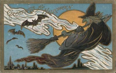 Greetings for Halloween-Witch on a Broom,Full Moon,Bats TP Co. Postcard Vintage