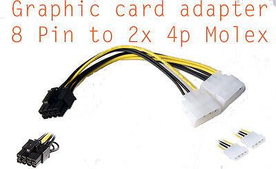 Cable alimentation carte graphique Molex 4 Pin to 8 pin PCI-E  power adapter, occasion d'occasion  Expédié en Belgium