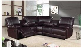*** FREE DELIVERY LEATHER RECLINER CORNER SOFAS***