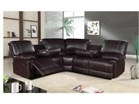 *** FREE DELIVERY LEATHER RECLINER CORNER SOFA***
