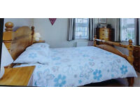 King size Pine bed with memory foam mattress