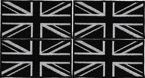 4 x BLACK UK FLAG PATCH embroidered iron-on UNION JACK GB ENGLAND
