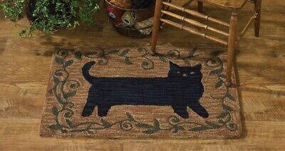 New Primitive Country Folk Art BLACK CAT Wool Hooked Rug Area Floor Mat