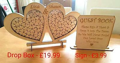 **** FLASH SALE - DOUBLE HEART DROP BOX + GUEST SIGN ONLY £19.99****