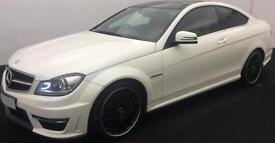 WHITE Mercedes-Benz C63 AMG SPORT COUPE AUTO 457BHP FROM £159 PER WEEK!