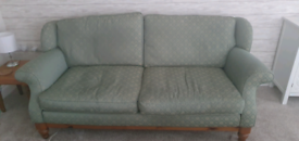 Ducal 3 seater sofa in green/gold fabric - used
