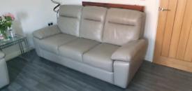 2 x 3 Seater Italian Grey Leather Sofa's