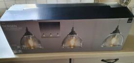 Next bergen 3 light pendant bar (no glass lampshades)