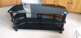 Black Glass 3 Tier TV Unit Stand FREE