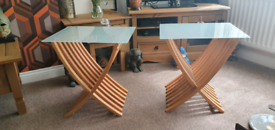 Pair of Contemporary folding pair of wood and glass tables