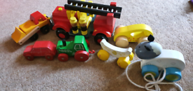 Wooden toy cars trucks fire engine, tractor and pull along