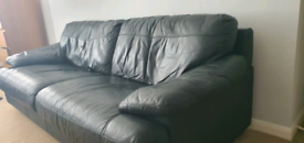 2 black leather sofa 4 and 2 seater