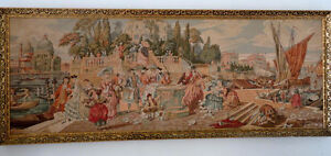 Framed Victorian Tapestry European Men Women at Venetian Harbor London Ontario image 1