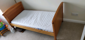 Mamas and Papas solid wood cot bed with mattress - great condition