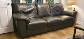 3 Dark brown Leather sofas