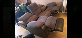 3 Seater Sofa with 2 Recliners on each side