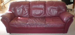 Natuzzi burgundy Italian soft leather sofa and chair for sale