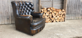Includes delivery for London Leather Chesterfield Wingback Armchair