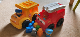 Mega bloks yellow school bus and fire engine toy car van bundle