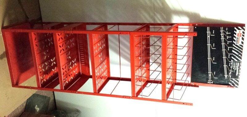 Red Metal Garage Vehicle/Car Parts Display Stand Shelving Used
