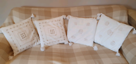 X4 cushions hand embroidered ivory colour