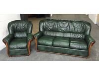 STUNNING Italian Green Leather Chesterfield Sofa Set.WE DELIVER