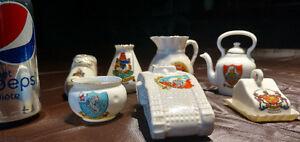 Collection of Antique Motto Ware Miniature Ceramics, Memorabilia