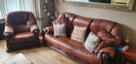 Italian Leather settee and chair