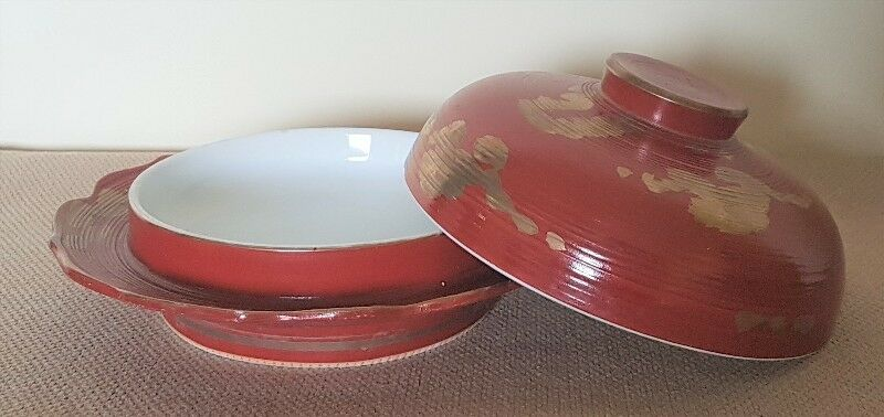 Porcelain Lidded Food Soup Dish Plate Bowl with cover