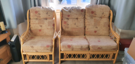 2 seater sofa and 2 chairs for conservatory garden room or patio