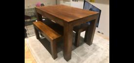 Dark walnut stained mango wood table furniture set