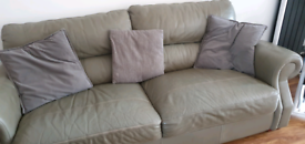 3 seater grey leather sofa